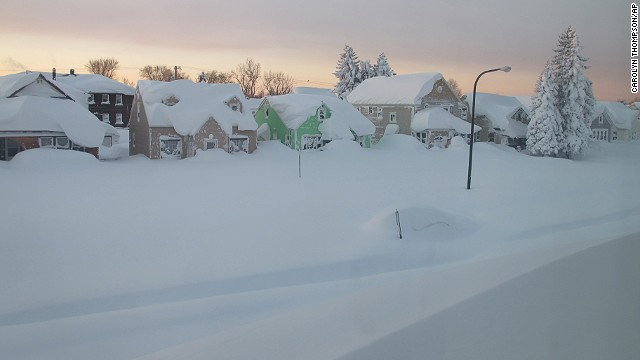 Snow covers a street in Buffalo, New York, on Wednesday, November 19.
