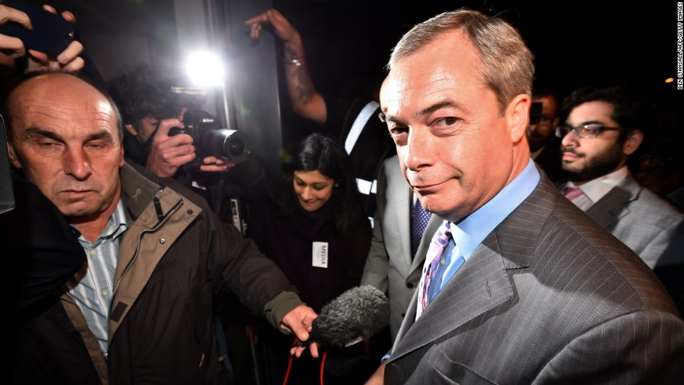 UK Independence Party (UKIP) party leader Nigel Farage arrives for the by-election ballot count in Rochester, England on November 21.