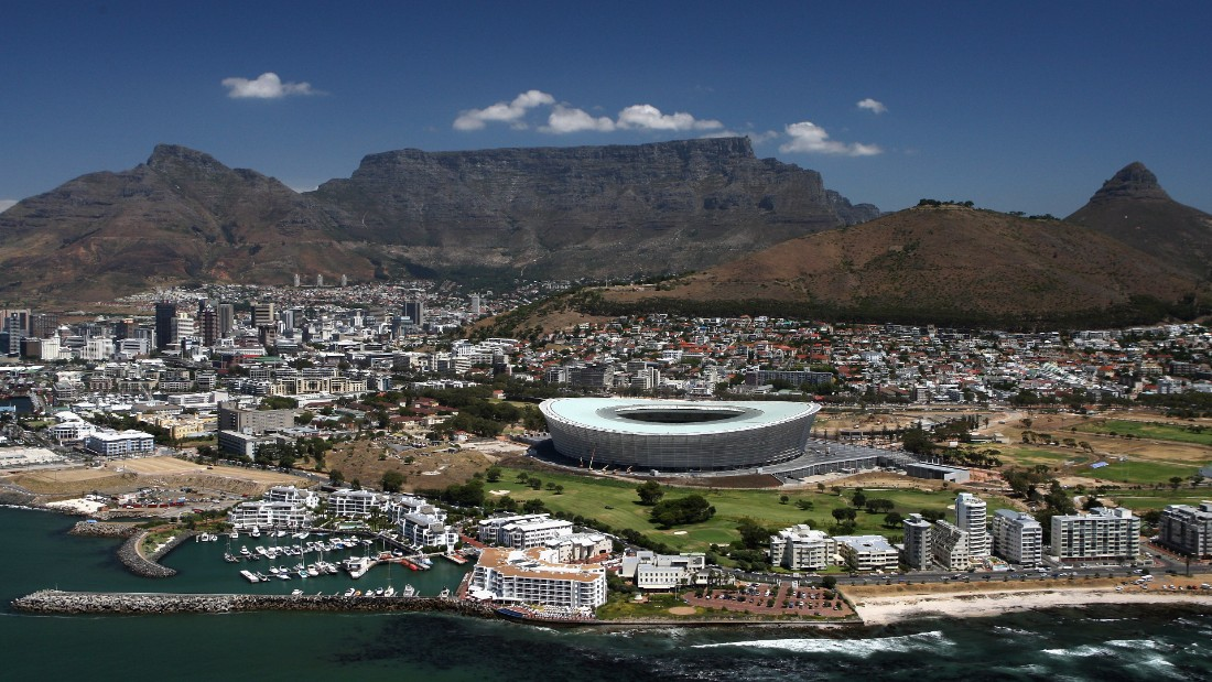 An aerial view of the Green Point Stadium which will host matches in the FIFA 2010 World Cup, on January 26, 2010 in Cape Town, South Africa.