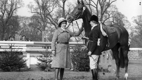 A #39;well done#39; pat for Doublet as the Queen congratulates Princess Anne and her mount after they had taken fifth place in the Badminton Horse Trials.