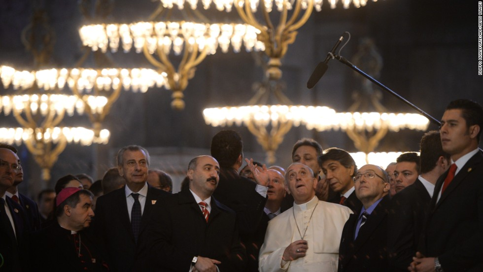 "Pope Francis visits the <a href=""http://ayasofyamuzesi.gov.tr/en"" target=""_blank"">Hagia Sophia Museum</a> in Istanbul on November 29."