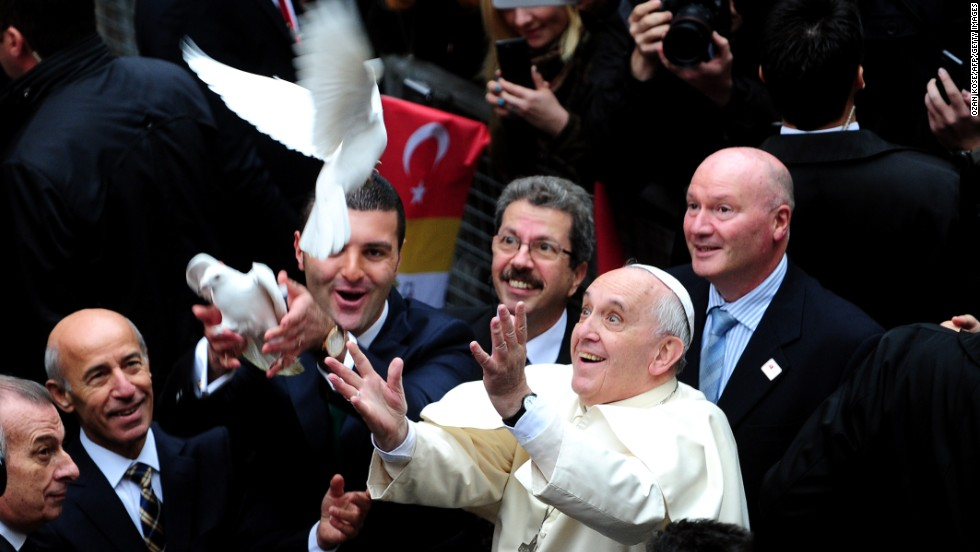 Pope Francis releases a dove at Istanbul's Holy Spirit Cathedral on November 29.