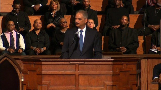 Eric Holder speaks at Ebenezer Baptist Church in Atlanta,