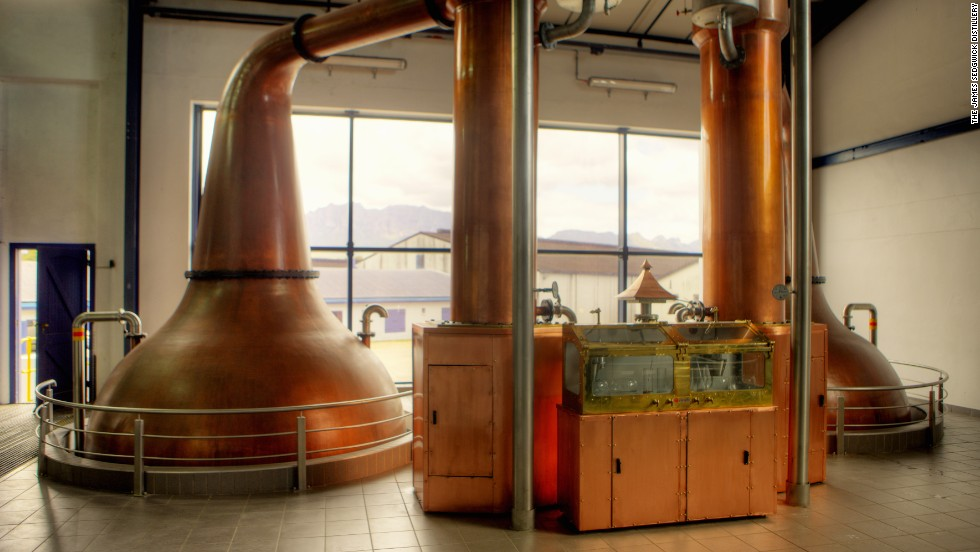 """It is in these copper pot stills, built by Forsyth's of Scotland, that the whisky """"wash"""" goes through double distillation."""