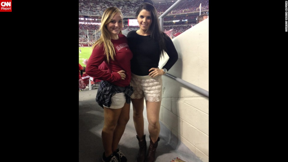 """Game day fashion """"is all about feeling comfortable in what you are in and being able to pull pieces together to create a look,"""" said <a href=""""http://ireport.cnn.com/docs/DOC-1191315"""">Melissa Alpuche</a>, right, shown here cheering on the University of Alabama. More game day style no-no's include """"showing too much skin, over-the-top makeup,"""" and, of course, wearing the opponents' colors, she said."""
