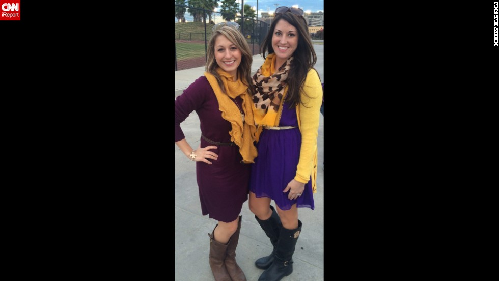"""Accessories like scarfs, belts, and jewelry should coordinate """"but not be too matchy matchy,"""" said Louisiana State University fan <a href=""""http://ireport.cnn.com/docs/DOC-1188011"""">Haley Poole</a>, right. """"The outfit should also still be functional off campus -- if you feel like you stick out amongst people who are not going to the game, it's too much."""""""