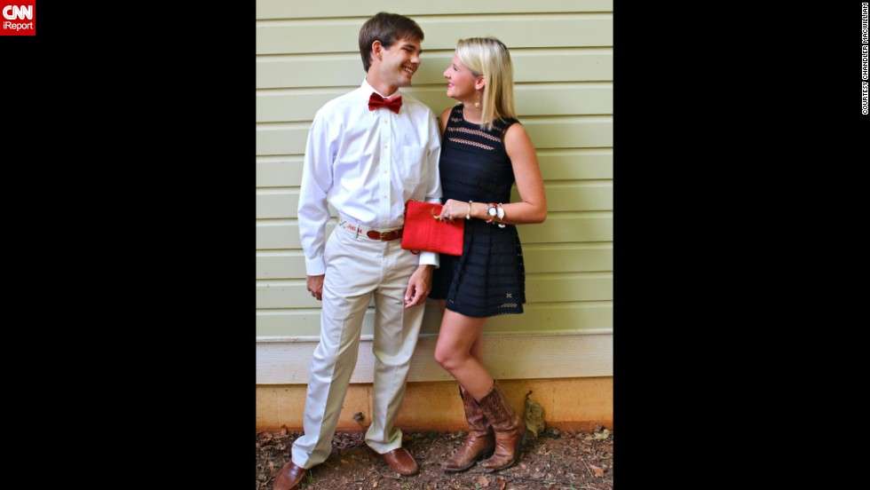 """Chandler MacWilliam, right, a senior at the University of Alabama and a <a href=""""http://shotgunsandseashells.com"""" target=""""_blank"""">fashion blogger</a>, models a game-day look with her boyfriend. She<a href=""""http://shotgunsandseashells.com/"""" target=""""_blank""""> </a>says she spends $50 to $200 on a typical tailgate outfit, which must always feature something red, black, white or gray. """"I refuse to dress in any color but those four."""""""