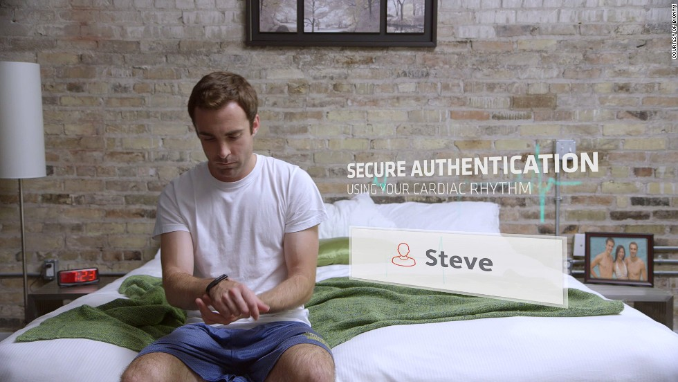 """Created by biomentrics technology company Bionym, The Nymi has a built-in sensor that detects the unique electrical pulse produced by your heartbeat. """"By using this type of technology, we can establish a very high level of trust because it's so closely tied to the body,"""" says Kevin Martin, CEO and founder of Bionym."""