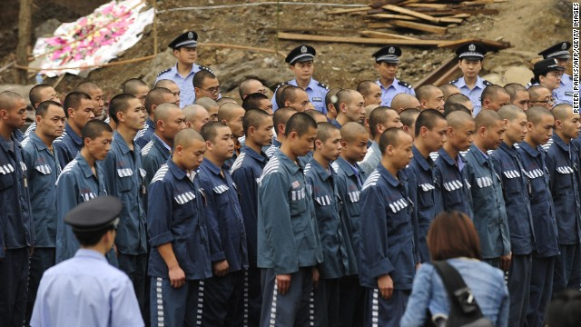 Chinese prisoners in Sichuan, western China.  China has relied overwhelmingly on organs from death row prisoners for transplants.