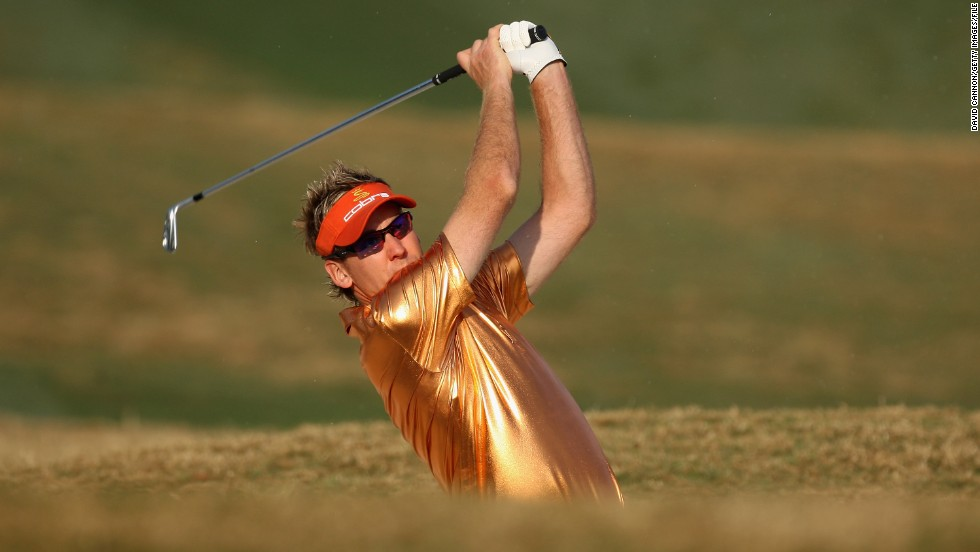 "Poulter, seen here playing at New Delhi in 2008, has built a successful clothing business, IJP Design, and is unapologetic about what he wears during tournaments -- even this gold lamé top. <br /><br />""I wear what I want to wear as opposed to wearing what someone else wants me to wear,"" he told CNN earlier this year. ""I'm quite a control freak from that standpoint. I like what I wear, so it's good for me to be able to promote that."""
