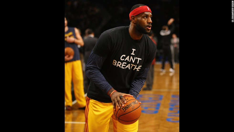 LeBron James of the Cleveland Cavaliers wears the shirt in New York before playing the Brooklyn Nets on Monday, December 8.
