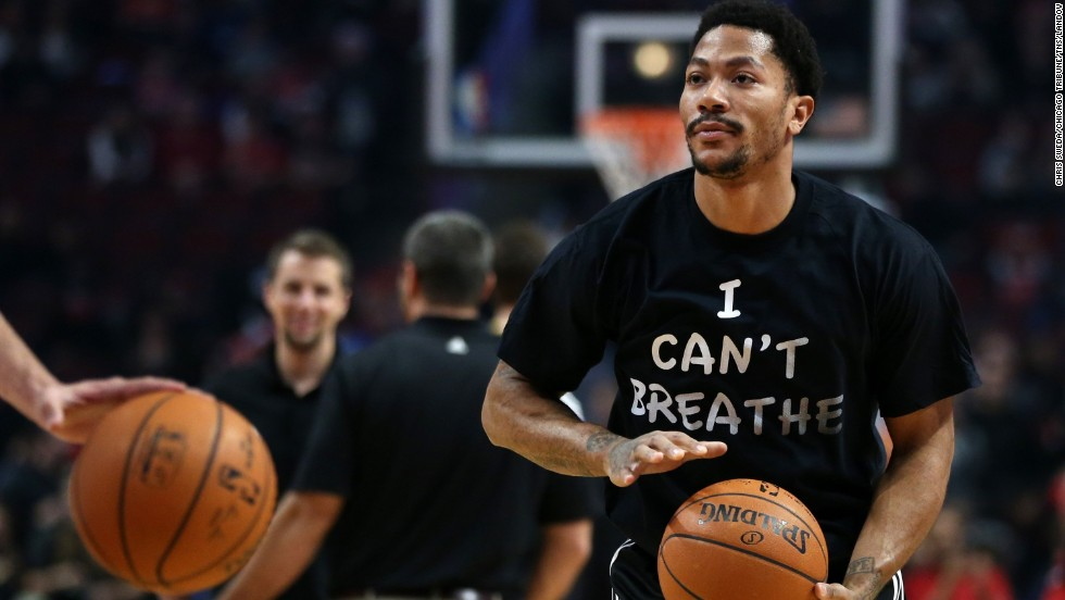 "Chicago Bulls star Derrick Rose was the first major athlete to wear the shirt, making headlines Saturday, December 6, in Chicago. ""I could care less about who else weighs in on this,"" he said. ""Usually athletes tend to stay away from this, but I just felt as if I had to do something."""