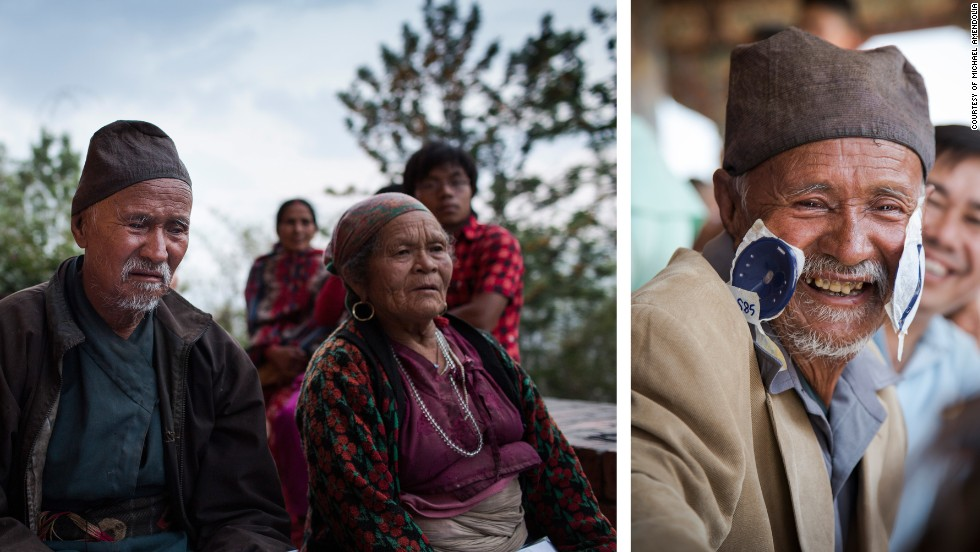 Lapka Tamang, 82, before and after his eye surgery in Pullahari Monastery on the outskirts of the Kathmandu Valley in Nepal.
