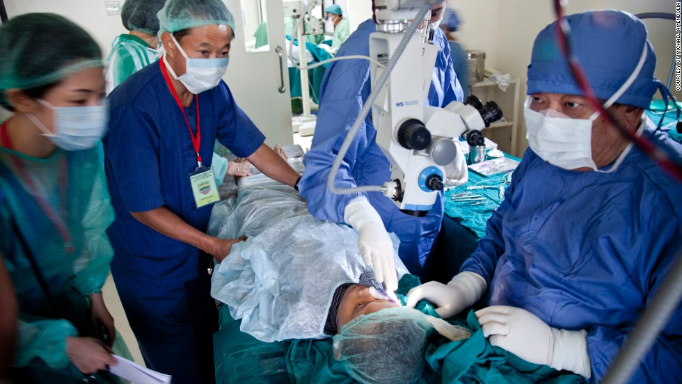 Dr. Sanduk Ruit and his Tilganga Institute of Opthlamology Team performs a surgery on a 9-year-old boy in Nepal in 2011.