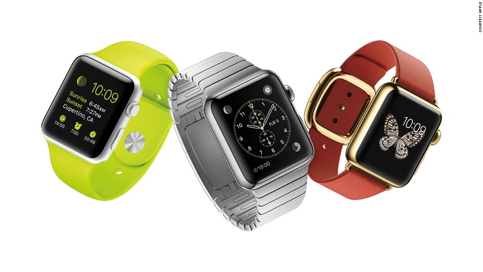 "The <a href=""http://money.cnn.com/2015/03/09/technology/mobile/apple-watch-event/index.html"" target=""_blank"">Apple Watch</a>, which will be available in April, can receive phone calls and send messages like an iPhone. It can also track fitness data and even pull up emails and some apps, including CNN."