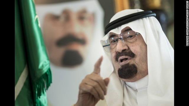 Saudi Arabia's King Abdullah bin Abdulaziz al Saud speaks at his private residence in Jeddah, Saudi Arabia, in June. The King has died, according to an announcement on Saudi state TV on Thursday, January 22. He was 90.