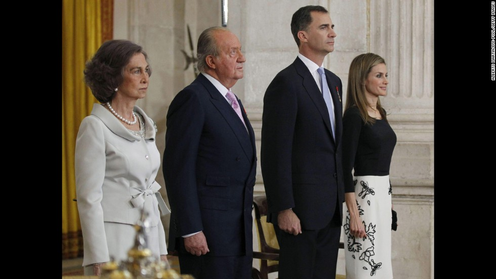 Juan Carlos I reigned as King of Spain for 39 years until abdicating in favor of his son in June 2014. Juan Carlos, second from left, is seen here with his wife, Queen Sofia, son, the new King Felipe, and daughter-in-law, the new Queen Letizia.