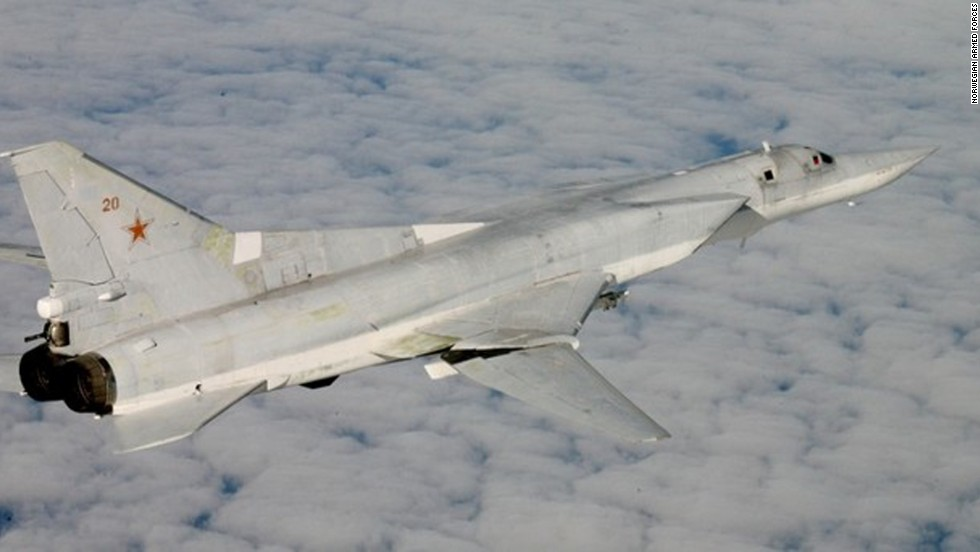 An armed Tu-22M supersonic bomber, nicknamed the Backfire by NATO, was photographed by Norwegian fighter jets.