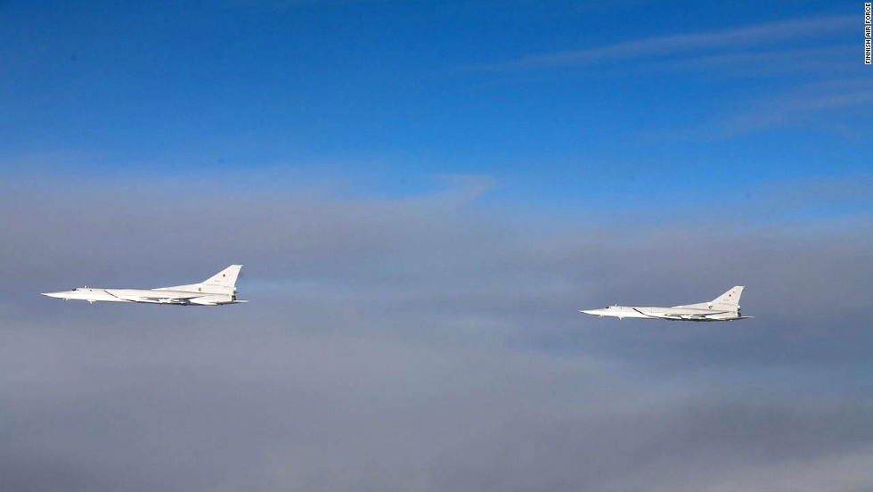 Two Tupolev Tu-22M aircraft intercepted by Finnish fighter planes.