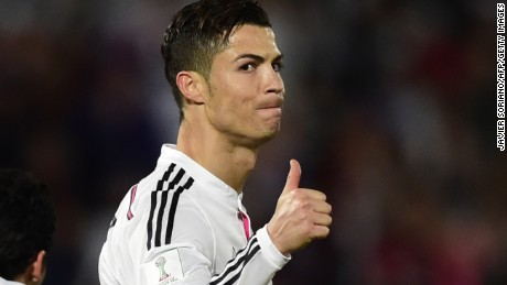 Real Madrid's Portuguese forward Cristiano Ronaldo gives the thumbs up during the FIFA Club World Cup final football match against San Lorenzo at the Marrakesh stadium in the Moroccan city of Marrakesh on December 20, 2014. AFP PHOTO / JAVIER SORIANO (Photo credit should read JAVIER SORIANO/AFP/Getty Images)