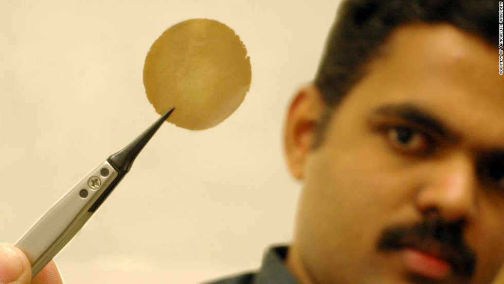 Researcher Dr. Rahul R. Nair shows his research sample: a one-micron thick graphene oxide film.