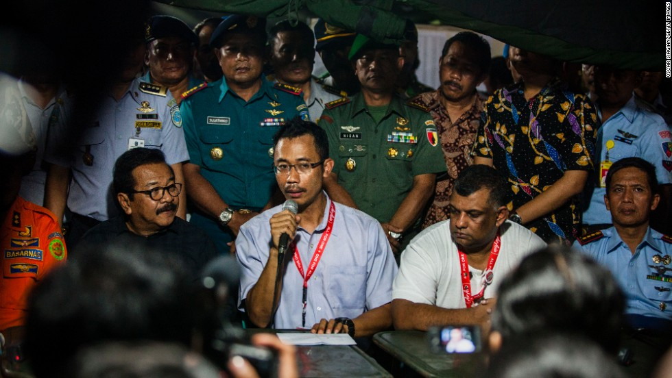 Sunu Widyatmoko, CEO of Indonesia AirAsia, gives a press conference in Surabaya announcing that the flight lost contact with air traffic control.