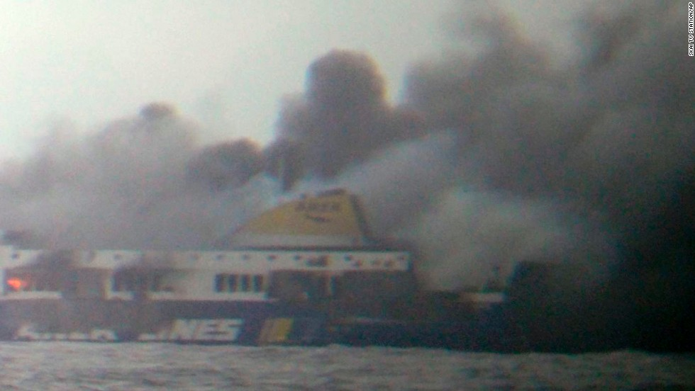 The fire is believed to have started in the garage area shortly after the ship set sail.