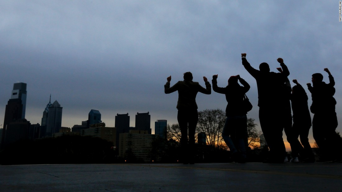 Visitors channel Rocky Balboa on the steps of the Philadelphia Museum of Art.