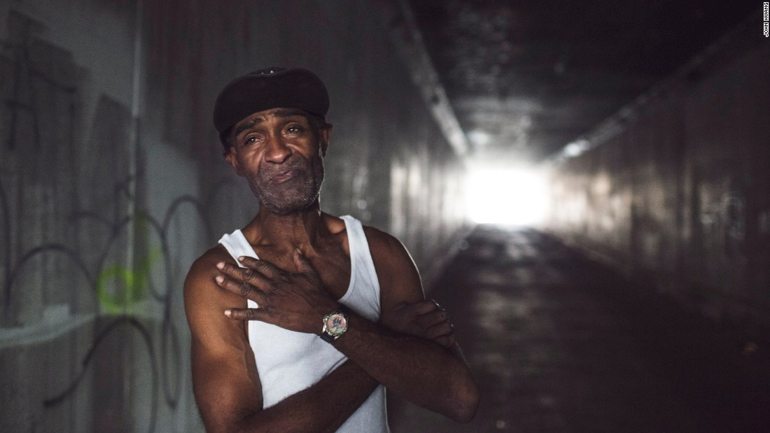 Tracey has been homeless for seven years and lives in a tent along the L.A. River. He has AIDS and cancer. He sings in the tunnel leading to the river because the acoustics are better. He says he once was a singer. Now he survives by finding food in the Dumpsters of restaurants, markets and produce vendors. He also cares for other homeless people, helping feed them. We walk around downtown, have dinner together and an amazing conversation about life.