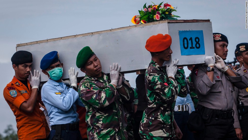 Members of an Indonesian search team carry a coffin at Iskandar Air Base on Friday, January 2.