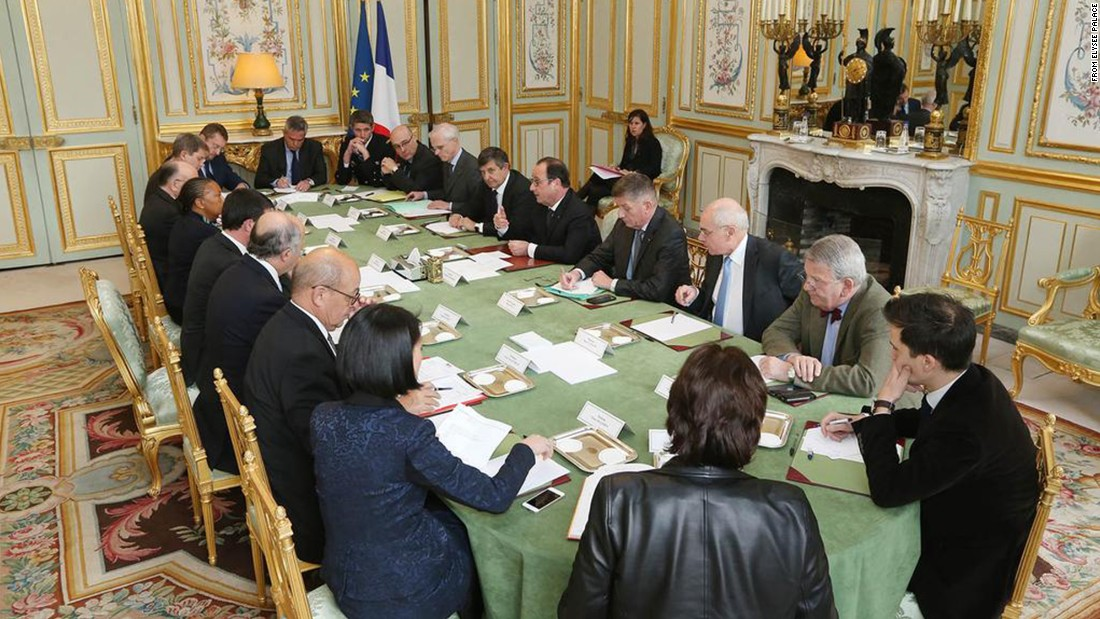 """French President Francois Hollande addresses an emergency Cabinet meeting at the Elysee Palace in Paris on January 7. """"We need to find the actors of this terrorist act,"""" Hollande said. """"They must be arrested and brought before judges and condemned as quickly as possible. France is shocked today."""""""
