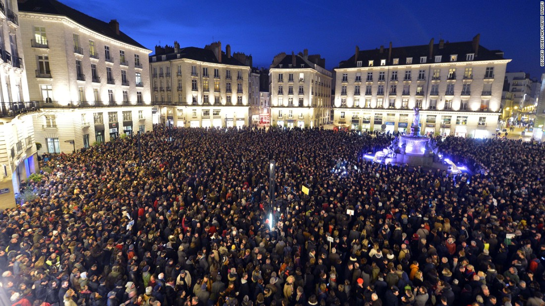People gather at the Place Royale in Nantes, France, on January 7.