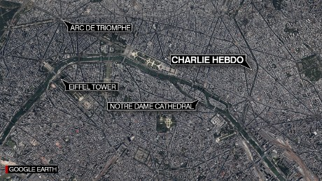 Map: Charlie Hebdo HQ, Paris