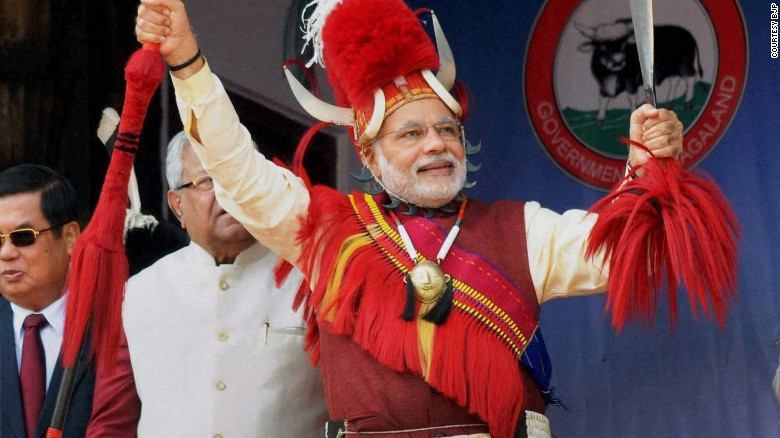 Indian Prime Minister Narendra Modi wears a traditional Naga warrior headgear at the Hornbill festival in Nagaland. Horbill, a bird admired greatly by locals in Nagaland, is symbolically used in these traditional tribal headgears. These headgears are considered symbols of power, position and status. It can only be worn if one has inherited or earned the right.