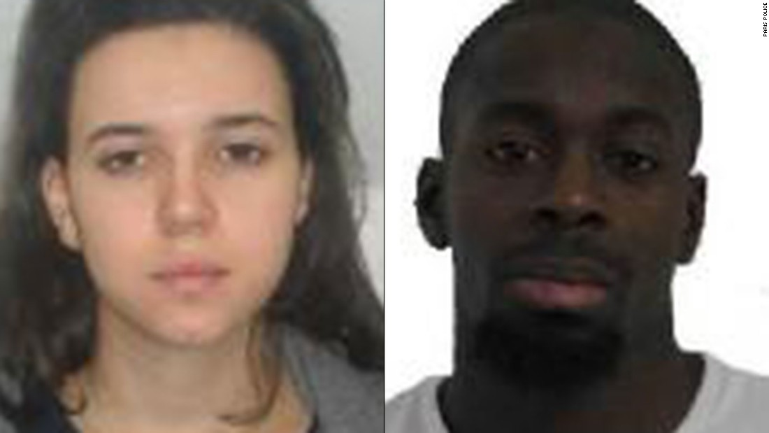 Coulibaly was one of two people wanted in connection with the deadly shooting of a police officer south of Paris on Thursday, January 8. French authorities released photographs of Coulibaly, right, and Boumeddiene after the shooting.