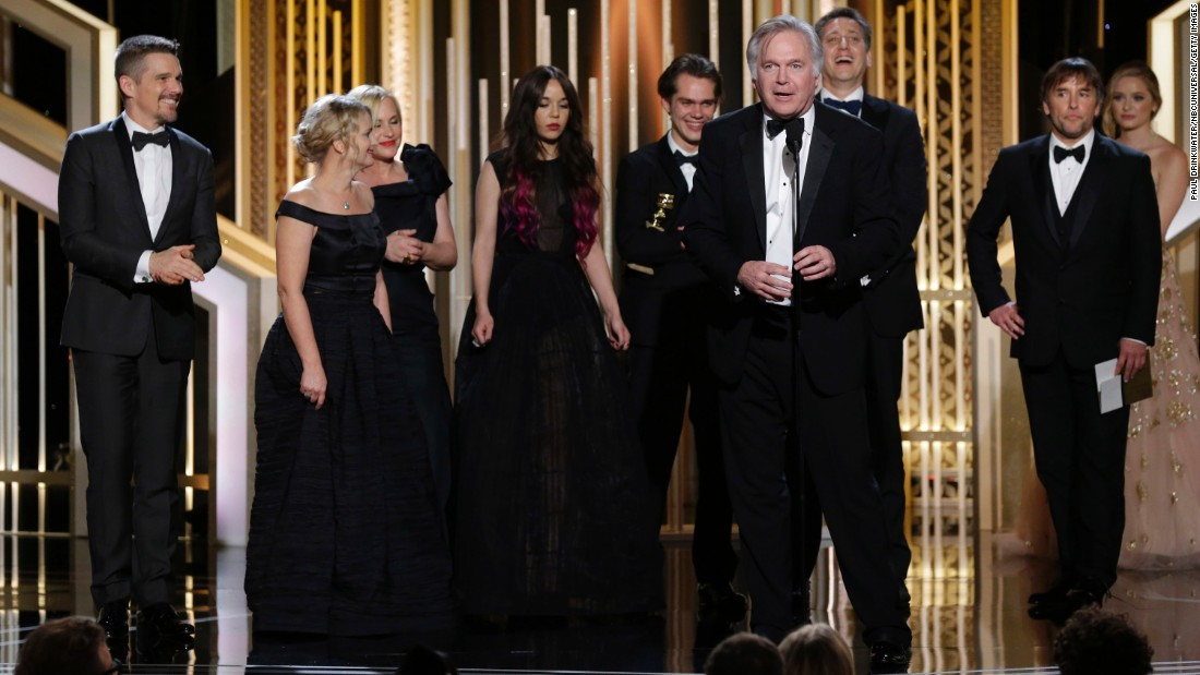 """Jonathan Sehring, the producer of """"Boyhood,"""" accepts the award for best motion picture in the drama category. Patricia Arquette won best supporting actress for her role in the film, and director Richard Linklater also scored a Golden Globe."""