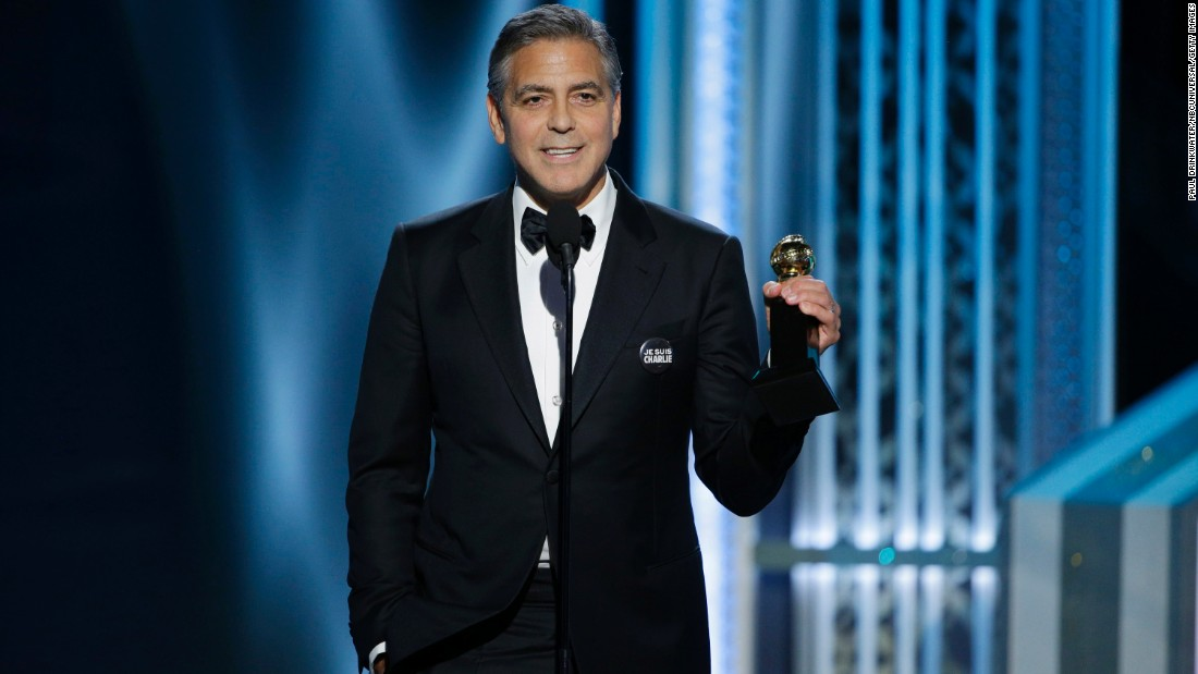 """George Clooney accepts the Cecil B. DeMille lifetime achievement award. He thanked the Hollywood Foreign Press for """"keeping small films alive"""" and joked about the Sony hack."""
