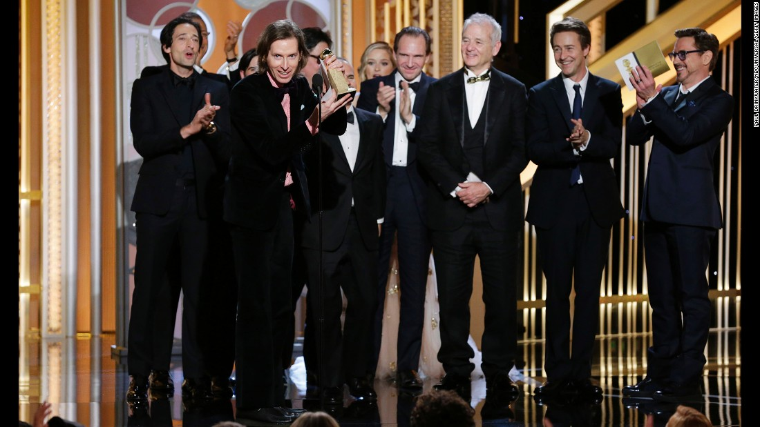 """Wes Anderson, director of """"The Grand Budapest Hotel,"""" accepts the award for best motion picture in the musical or comedy category."""