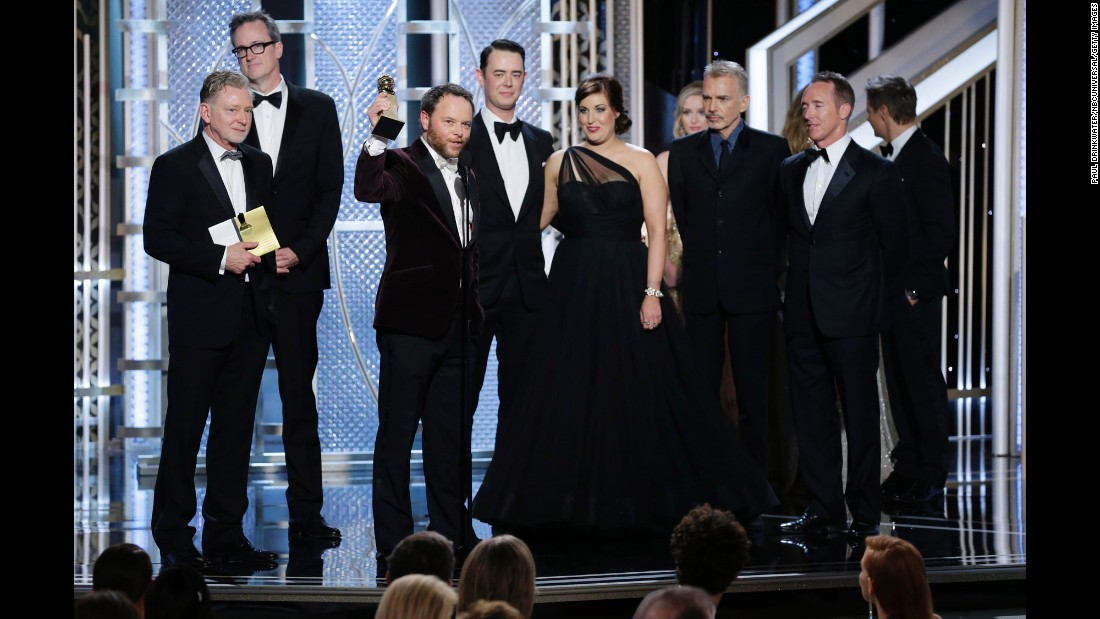 """""""Fargo"""" creator Noah Hawley accepts the award for best miniseries or TV film. Billy Bob Thornton also won a best actor award for his role on the show."""