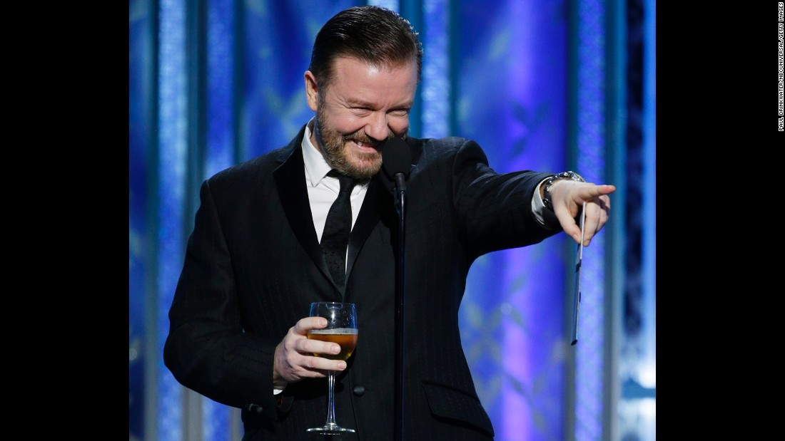 """Comedian Ricky Gervais presents the award for best actress in a musical or comedy. Amy Adams won for her role in """"Big Eyes."""""""