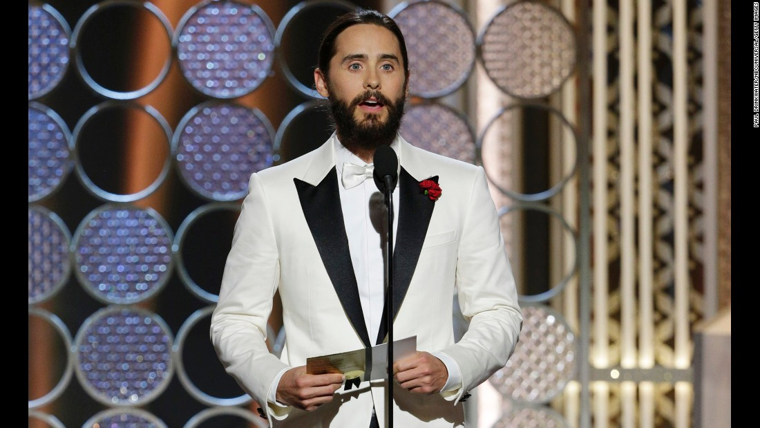 """Presenter Jared Leto expressed solidarity with French magazine Charlie Hebdo after <a href=""""http://www.cnn.com/2015/01/07/world/gallery/paris-charlie-hebdo-shooting/index.html"""">last week's terror attack in Paris</a>. """"To our brothers, sisters, friends and family in France: Our thoughts, our prayers, our hearts are with you tonight,"""" he said."""