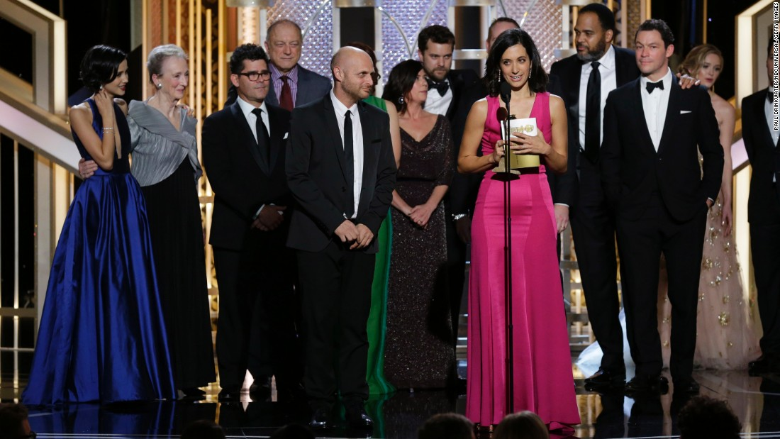 """""""The Affair"""" co-creator Sarah Treem accepts the award for best TV drama. Show star Ruth Wilson was also named best actress in the category."""