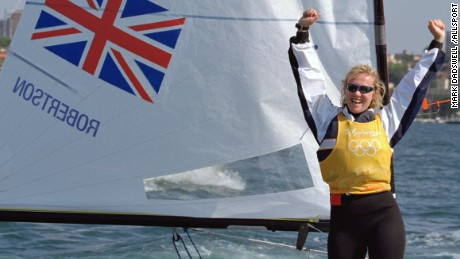 Caption:29 Sep 2000: Shirley Robertson of Great Britain celebrates winning Gold in the Womens Sailing Europe Class at Rushcutters Bay in Sydney Harbour on Day 14 of the Sydney 2000 Olympic Games in Sydney, Australia. \ Mandatory Credit: Mark Dadswell /Allsport