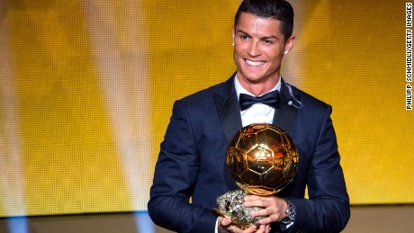 Cristiano Ronaldo clutches the Ballon d'Or at the FIFA ceremony held in Zurich, Switzerland on Monday.