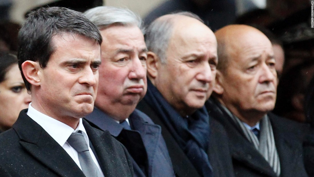 From left, French Prime Minister Manuel Valls, Senate President Gerard Larcher, Foreign Affairs Minister Laurent Fabius and Defense Minister Jean-Yves Le Drian attend the ceremony.