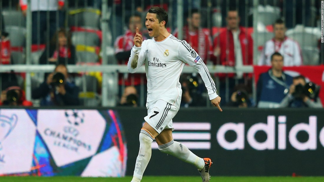 April 29: Ronaldo scores two to help Real Madrid beat Champions League holders Bayern 4-0 in Munich.