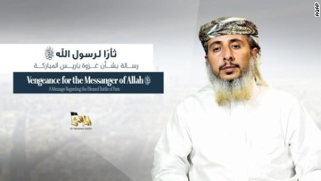 """In a video message Al Qaeda in the Arabian Peninsula commander Nasr Ibn Ali al-Ansi claims responsibility for the attacks on the Charlie Hebdo satirical magazine Jan. 7, 2015. With pictures of the two Kouachi brothers Said and Cherif behind him, al-Ansi says """"When the heroes were assigned, they accepted. They promised and fulfilled"""" and praised that attacks saying it was revenge for the depictions of the Prophet Mohammed. Al-Ansi went on to say """"It is France that has shared all of America's crimes. It is France that has committed crimes in Mali and the Islamic Maghreb. It is France that supports the annihilation of Muslims in Central Africa in the name of race cleansing."""" The nearly 12-minute video was produced by AQAP's official media wing al-Malahem media and published online Wednesday. Statement obtained and translated by CNN's Salma Abdelaziz in Abu Dhabi. Credit: AQAP"""