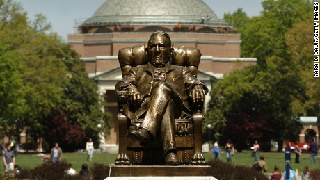 Caption:DURHAM, NC - APRIL 11: The statue of Washington Duke on Duke University's East Campus with Baldwin Auditorium is shown April 11, 2006 in Durham, North Carolina.