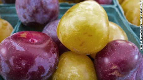 Plums are seen for sale at a outdoor Farmer's Market August 15, 2013, in Washington, DC. AFP Photo/Paul J. Richards (Photo credit should read PAUL J. RICHARDS/AFP/Getty Images)