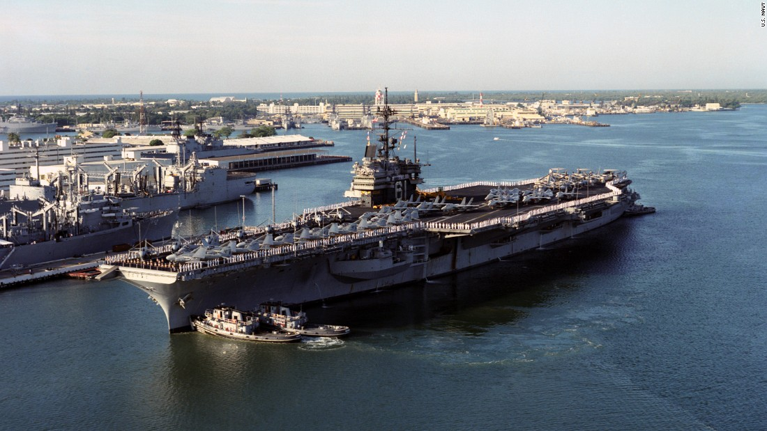 "The USS Ranger (CV-61) arrives at Pearl Harbor, Hawaii, in 1993. The Forrestal-class carrier, which featured in the movie ""Top Gun,"" is to be scrapped this year."